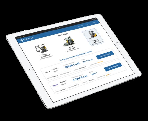 Tablet mit verschiedenen Angeboten für Firmenleasing.