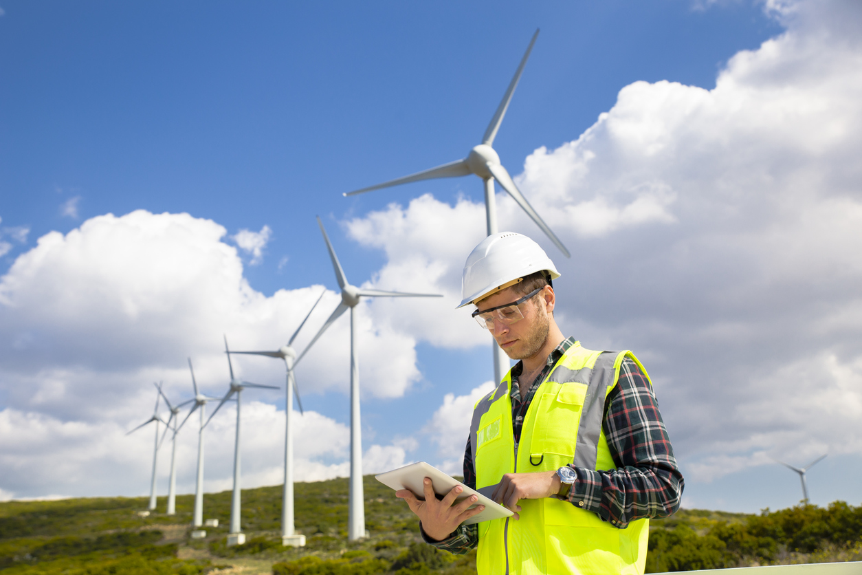 Windräder als Quelle erneuerbarer Energien.