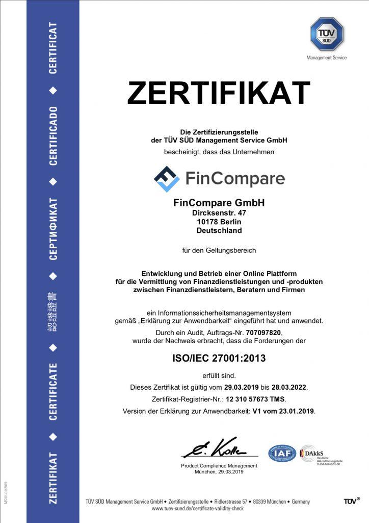 TÜV - Zertifikat ISO 27001